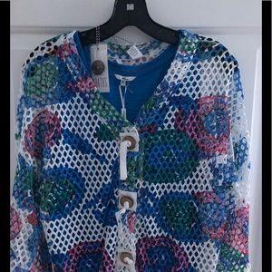 Women's tank / blue multi colored jacket size M